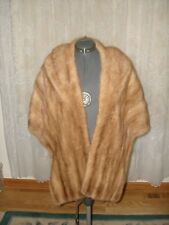 Vintage Natural Light Brown Fur Mink Long Wrap Cape Jacket Bolero Stole Large