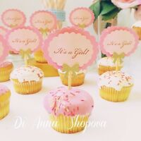 12x Baby Shower Pink & Gold Table Decorations Cupcake Toppers It's A Girl