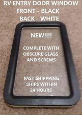 NEW Black / White Camper Motorhome Trailer RV Entry / Entrance Door Window