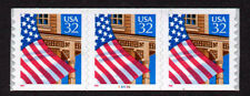 UNITED STATES, Scott # 2915A, STRIP OF 3 PNC3 #99999 FLAG OVER PORCH, MNH
