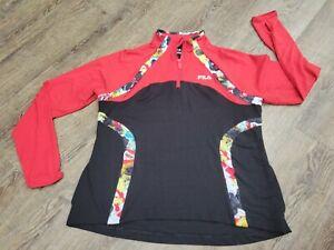 Fila Sport Performance 1/4 Zip Pullover Shirt Jacket Womens XL Running Athletic