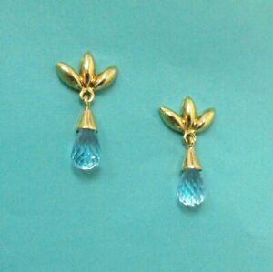 TIFFANY & Co. 18K Yellow Gold Leaf Aquamarine Drop Earrings