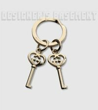 GUCCI gold-tone Interlocking G HEART KEY Pendants KEY Chain Ring NIB Authentic!