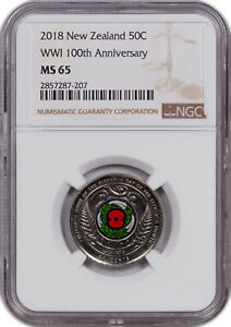 2018 NEW ZEALAND 50 CENTS WW1 100TH ANNIV COLORIZED NGC MS 65 HIGH GRADE*