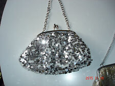 Vintage Style Avance By Menbur Silver  Glitter Sequin Evening Bag