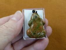 (anv-frog-8) lil green orange Frog gemstone carving Pendant Necklace amphibian