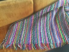 "Large Vintage Afghan Multi Color Stripped Colorful 78""x48"" Blanket Throw Unique"
