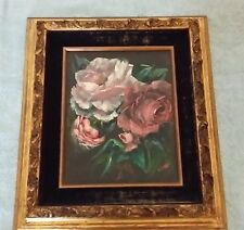 Olline McDonald Oil Painting Roses 1976 Vintage 8 X 10 Inch Framed Signed