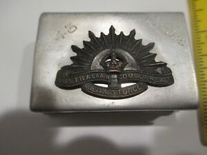 WWI World War One Australian 43rd Engineers Named Match Case Trench Art Aluminum