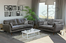 new zinc 3+2 seater sofa suite armchair in grey fabric wooden legs cheap