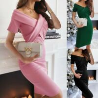 Women's Sexy Slim Solid Short Dress Lady Bodycon Party V Neck Ball Gown Dresses