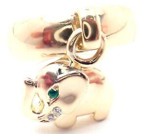 Rare! Authentic OJ Perrin Paris 18k Yellow Gold Diamond Elephant Charm Band Ring