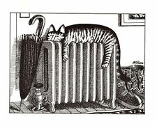 Cat Sleeping On Heater Radiator Kliban Cat Print Black White Vintage