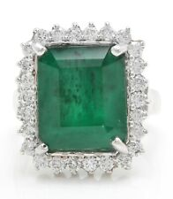 8.37 Carat Natural Emerald and Diamonds in 14K Solid White Gold Women's Ring