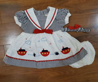 NWT baby girl dress set with headband clothes outfit size 3 6 9 months