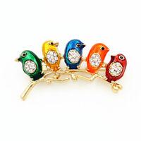 Betsey Johnson Colorful Enamel Crystal Lovely Five Little Bird Charm Brooch Pin