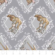 Bambi in Tessuto Fat Quarter Cotton Craft Quilting DISNEY Grigio Diamanti