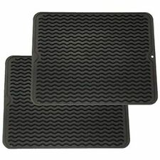 Lot of 2-Dish Drying Mat Easy Clean Dishwasher Safe Heat Resistant Dark Gray