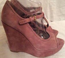 Wedge Peep Toes Standard (B) Width Suede Heels for Women