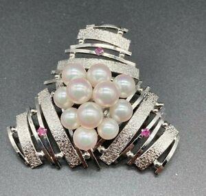 Retro 930 Sterling Silver Akoya Pearls & Rubies Big Triangle Pendant/Brooch