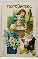 Easter  Greetings Girls Reaching For Eggs Pretty Flowers Embossed Postcard G12