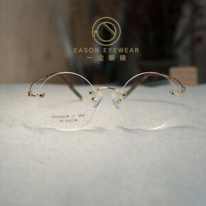 Retro Rimless Titanium Round Steve Jobs Glasses mens womens gold RX eyeglasses