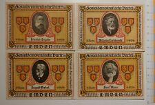"JB German Notgeld EMDEN 4 notes ""Sozialdemokratische Werbewoche"" complete, RARE"
