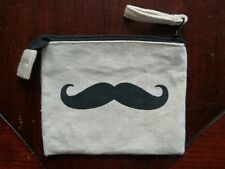 Moustache Coin Purse Pouch Canvas Zipper Zip Top Black Beige Natural Tan Small