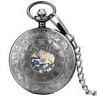 Mens Roman Retro Black Steampunk Mechanical Hand-wind Blue Skeleton Pocket Watch