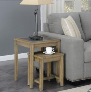 Bainbridge Home Nest of 2 Tables, Brown Ash Veneer & Grey Tile Top