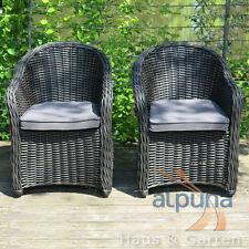 Hochwertiger Polyrattan Sessel - 2er Set - Rundfaser Rattan Gartenmöbel