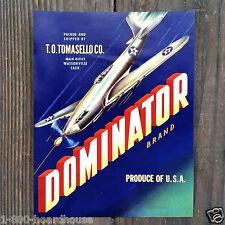 10 Vintage Original DOMINATOR VEGETABLE Can Label Bomber Plane Labels 1940s NOS