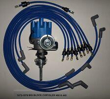 CHRYSLER 440 1973-1978 BLUE Small Female Cap HEI Distributor & Spark Plug Wires