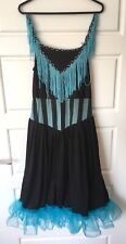 Black Blue Burlesque Dress Costume Moulin Rouge Can Can Saloon Diva Size 10-12