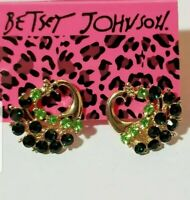 Betsey Johnson Cute Green Enamel Peacock Crystal Stand Earrings Jewelry