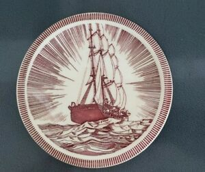 Vintage VERNON KILNS ROCKWELL KENT Brown  MOBY DICK Plate 6  1/2 Inch  USA