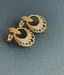 9ct Yellow Gold Diamond Sapphire Earrings Vintage Studs Round Pattern Hallmarked