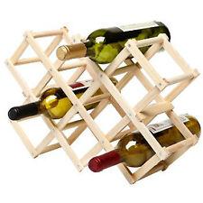 10 Bottle Pine Wood Folding Wine Rack Free Standing Kitchen Stand Bar Storage