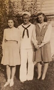 Man & His Girl In Navy Military Uniform Found Photo 1940's