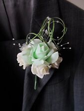 4 Mint & Ivory Rose  Corsage Buttonholes Wedding Flowers Artificial