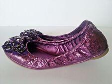 New $260 Tory Burch Azalea Metallic Purple Leather Jeweled Bow Ballet Flat 9