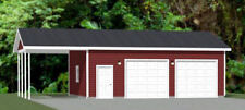 30x24 2-Car Garage with Carport -- 720 sqft -- PDF Floor Plan -- Model 10M