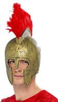 Perseus Gladiator Helmet, Gold, with Red Plume (US IMPORT) COST-ACC NEW