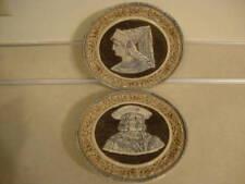 Vintage D & B Huhr German Pair Stoneware Plaque Plates Dumler Breiden King Queen