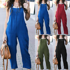 Women's Loose Strappy Romper Jumpsuit Summer Overalls Playsuit Casual Long Pants