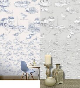 Arthouse Curlew Bay Birds Boats Wallpaper in Blue – 699300 & Grey - 905004