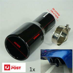 Baked Black Car Exhaust Tip Tail Muffler Pipe 2.5'' Inlet 4'' Out Stainless AU