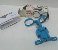 VINTAGE BLUE PLASTIC FOLDING WONDER OPTICAL BINOCULARS WITH COMPASS