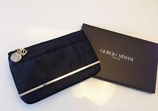 Giorgio Armani Parfums Black Elegant Pouch Clutch Evening Bag with a golden bar