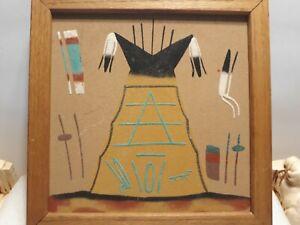 "Navajo Teepee Sand Art 12"" x 12"" signed Framed"